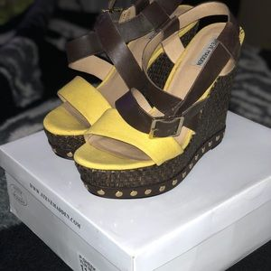 Yellow and brown wedge sandal